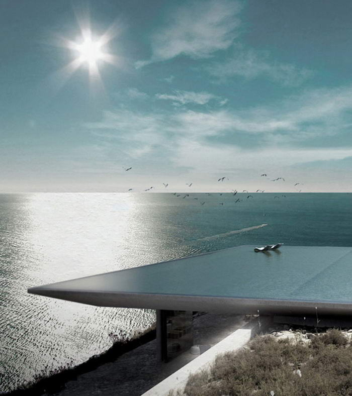 Infinity Pool As A Roof Mirage Residence By Kois
